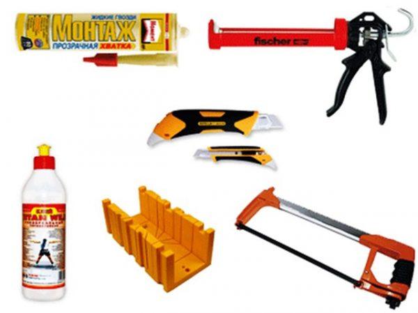 Инструменты для монтажа потолочного плинтуса