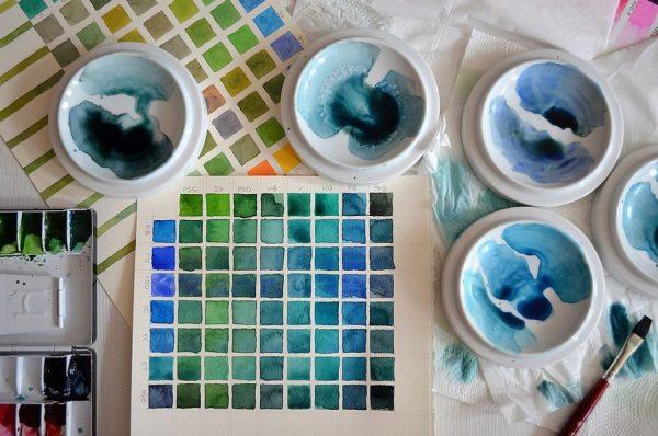 Получение голубого из акварельных красок