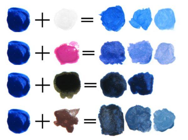 Способы получения оттенков голубого