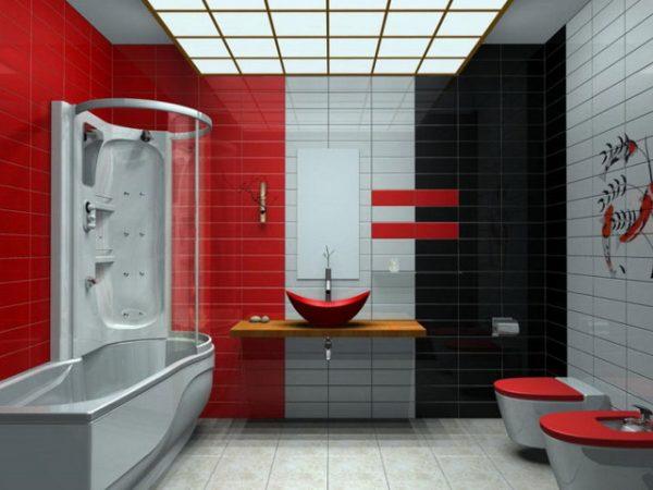 Красный, черный и белый в ванной