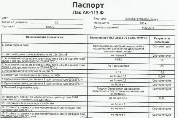Паспорт лака АК-113Ф