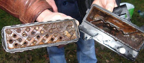 Промывка алюминиевого радиатора печки