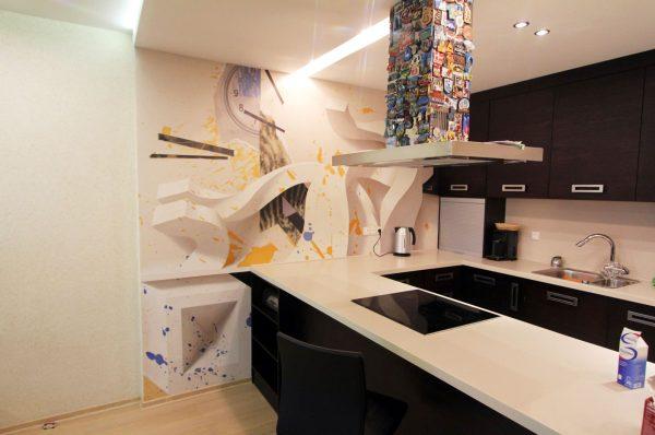 3Д картина на кухне