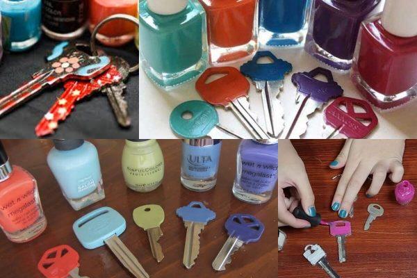 Маркировка ключей лаком для ногтей