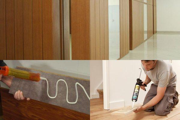 Работа по приклеиванию деревянных панелей