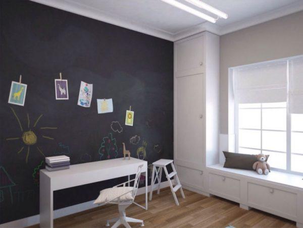 Грифельная краска на стене