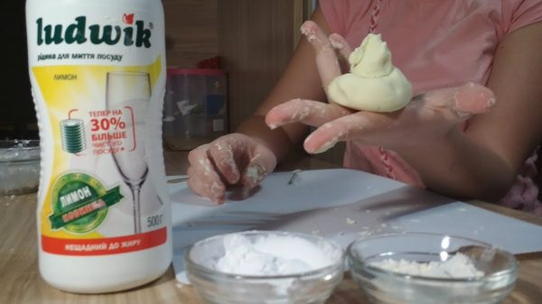 Пластилин из крахмала и моющего средства
