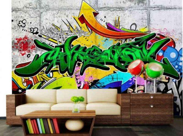 Граффити в интерьере комнаты