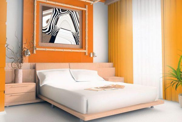 Дизайн спальни выполненной в оранжевых цветах