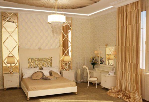 Интерьер спальни в золотых тонах