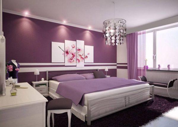Спальня выполненная в сиреневом цвете