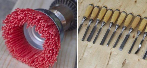 Ручные инструменты для браширования - стамеска и наждачка