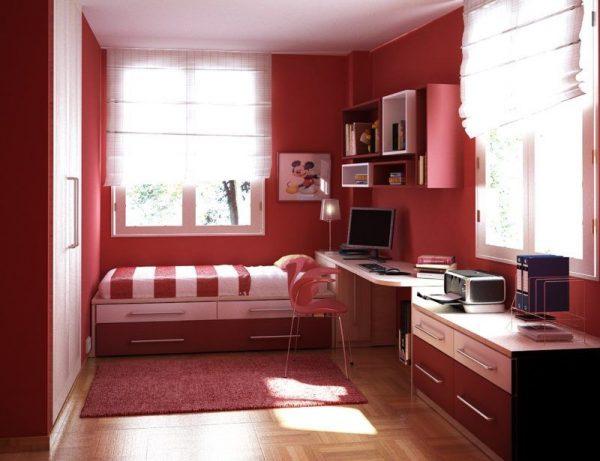 Интерьер детской комнаты в красных тонах