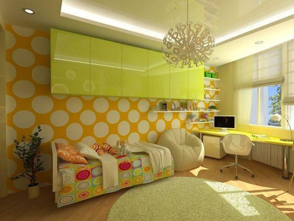Интерьер детской комнаты в желтых тонах
