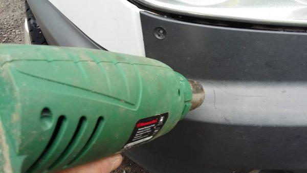 Восстановление автомобильного бампера строительным феном