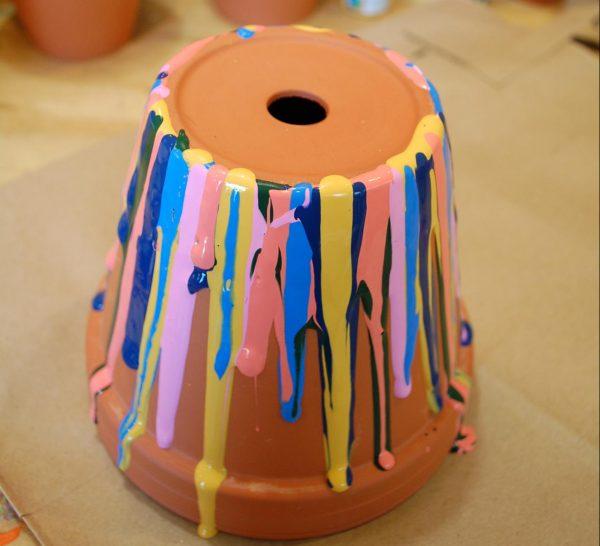 Закрасить края горшка по кругу