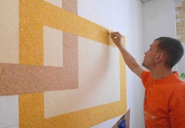 Декорирование стен при помощи малярного скотча