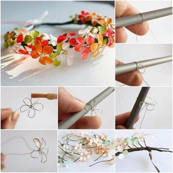 Венок из цветов из проволоки и лака для ногтей