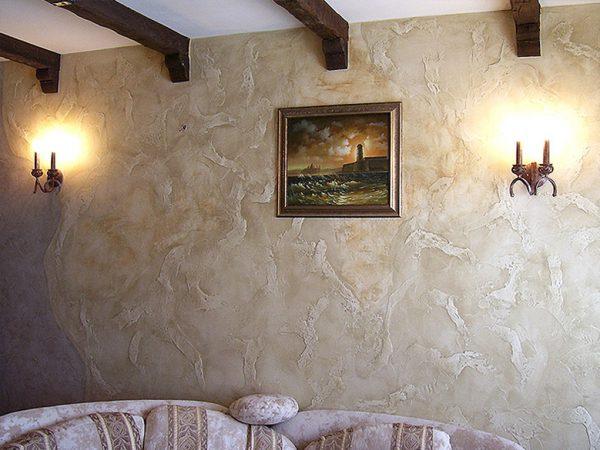 Венецианская штукатурка в интерьере помещения