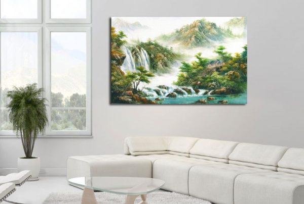 Картина на холсте в интерьере - водопады