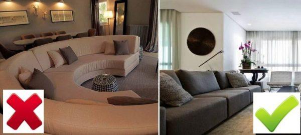 Круглый диван в интерьере и прямоугольная мебель