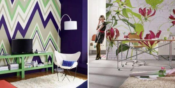 Геометрические принты и обои с крупными цветами для стен
