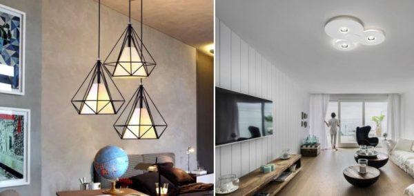 Геометрические и округлые светильники в интерьере
