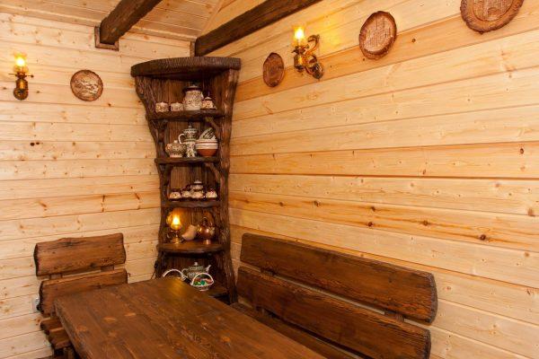Деревянная мебель для бани под старину