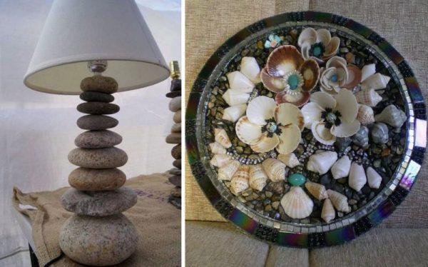 Декорирование камнями - лампа и тарелка