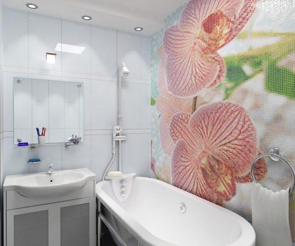Мозаичное панно в маленькой ванной