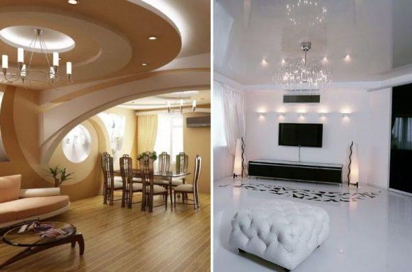 Многоуровневые и глянцевые потолки в интерьере