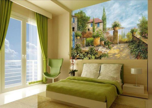 Фотообои фрески в интерьере спальни