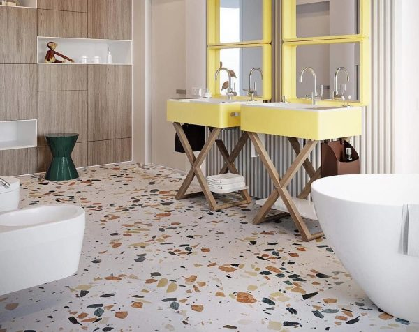 Плитка terrazzo в ванной