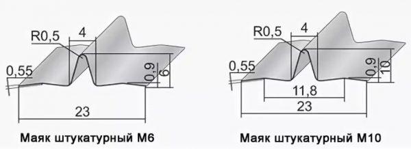 Размеры штукатурных маяков М6 и М10