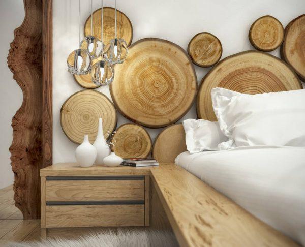 Спилы дерева для декора спальни