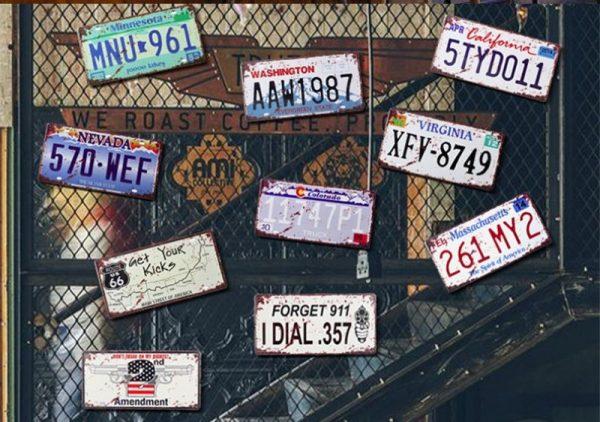 Декоративные номерные знаки в стиле ретро