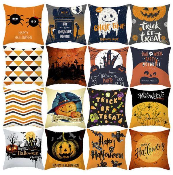 Наволочка на подушку с надписями и рисунками для Хеллоуина