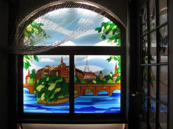 Витражное фальш-окно с подсветкой
