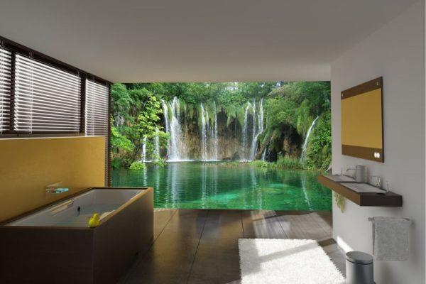 3D-обои водопад в интерьере ванной