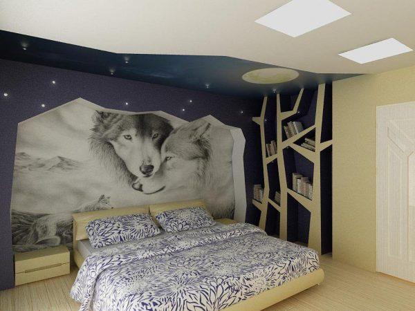 3д фотообои с волками для спальни