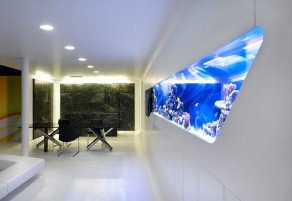Дизайн аквариума в интерьере хай-тек