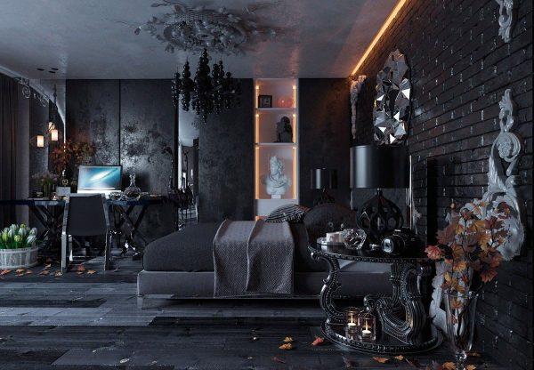 Черная спальня в готическом стиле