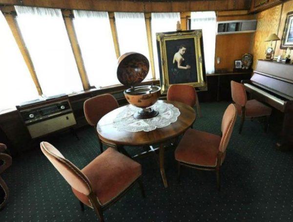 Старинный глобус на столе в доме Рыбина
