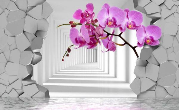 Фотообои со стереоскопическими цветами