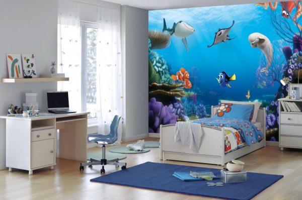 3D-обои морской мир в интерьере детской комнаты