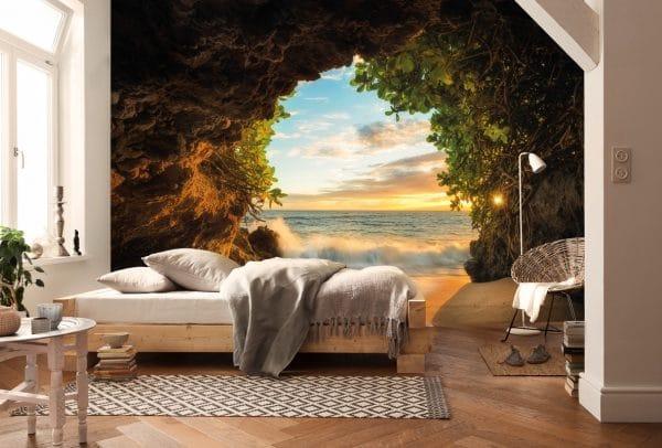 Панорамные 3D обои в спальной комнате