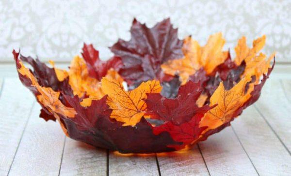 Папье-маше - ваза из осенних листьев