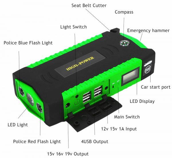 Пусковой стартер с возможностью зарядки электронного оборудования