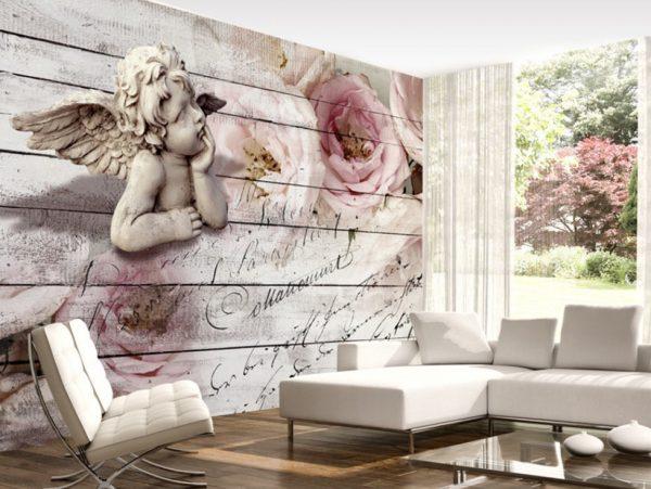Стереоскопический рисунок с ангелом в гостиной
