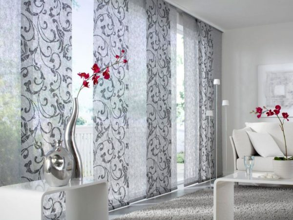Японские длинные панельные шторы в интерьере
